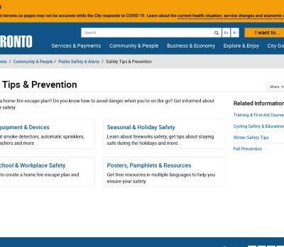 City of Toronto - Safety Tips